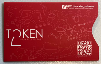 NFC blocking sleeve for programmable tokens (mini cards)